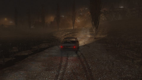 a car, tracks behind it in the wet asphalt as it goes towards a copse of thin trees in the fog, front headlights cutting through in an orange glow. screenshot.